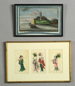 Chinese School, 19th Century  Lot of Nine Assorted Chinese Figural and Scenic Paintings.