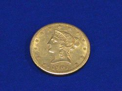 1901 Ten Dollar Liberty Head Gold Coin.