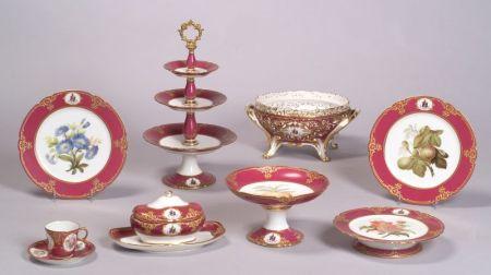 Extensive Paris Porcelain Armorial Decorated Dessert Service