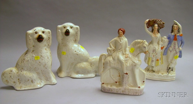 Four Staffordshire Figures and Figural Groups