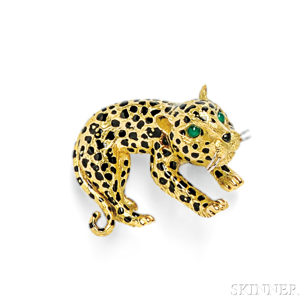 18kt Gold and Enamel Leopard Brooch