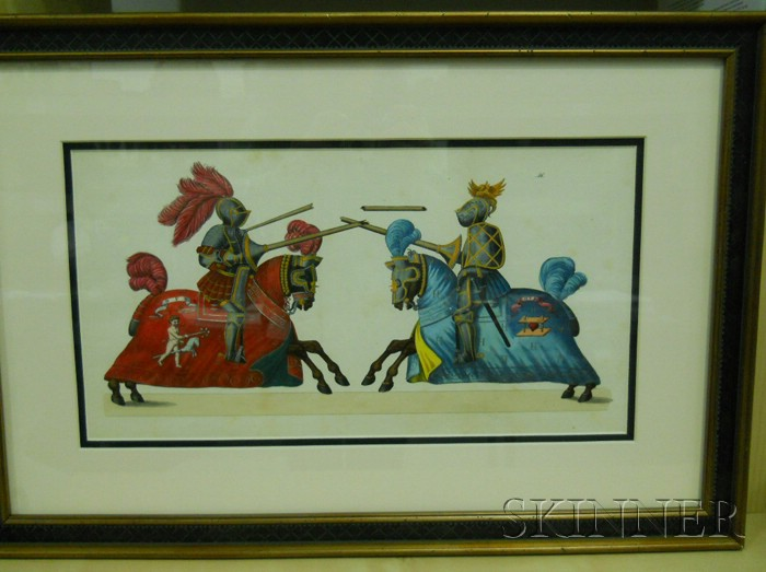 Pair of German Hand-colored Engravings of Jousting Knights