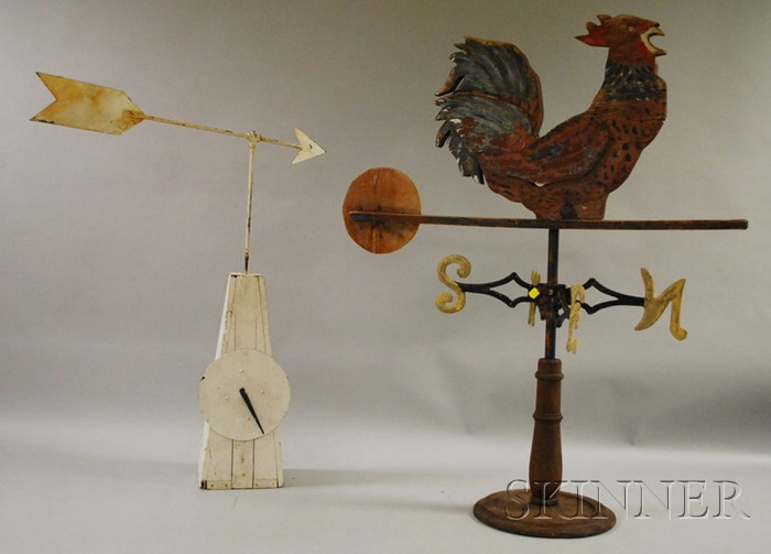 Painted Wood Panel Chicken Weather Vane and a White-painted Metal Arrow and Clockwork Weather Vane.