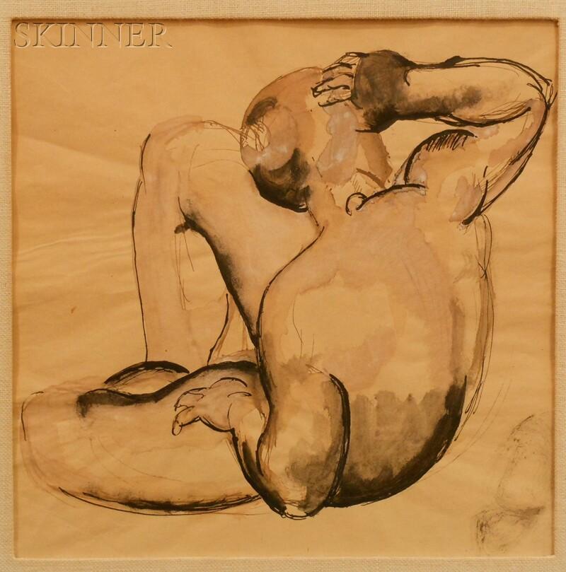 Manolo (Manuel) Hugue (Cuban, 1872-1945)      Crouching Woman (Back View)
