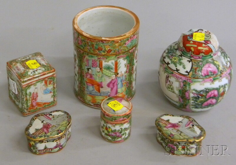 Seven Pieces of Chinese Export Rose Medallion Porcelain