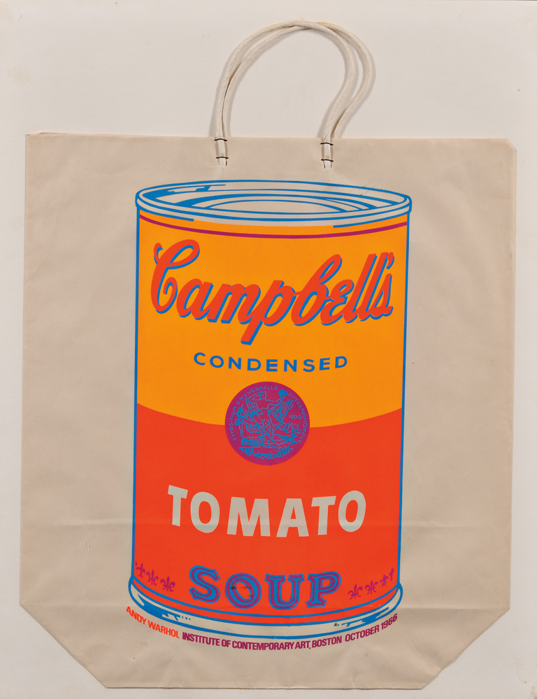 Andy Warhol (American, 1928-1987)      Campbell's Soup Can on Shopping Bag (Tomato soup)