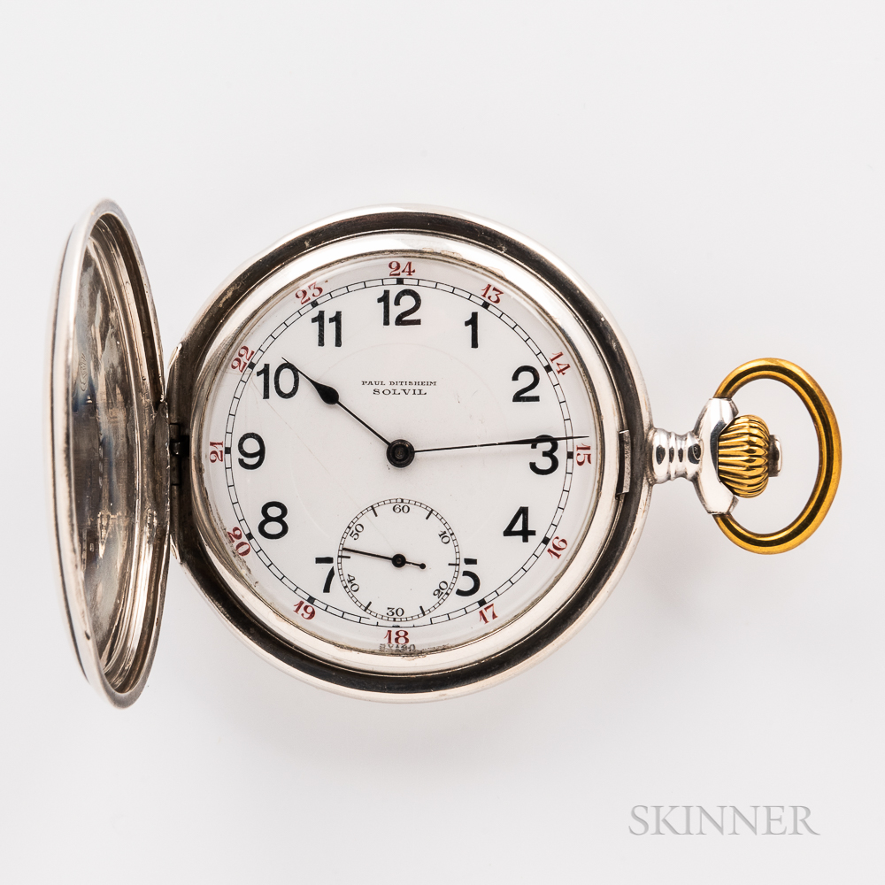 Paul Ditisheim Sterling Silver Hunter-case Watch
