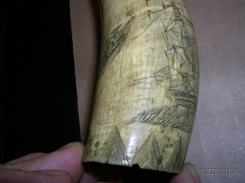 Small Engraved Whale's Tooth with Whaling Scene