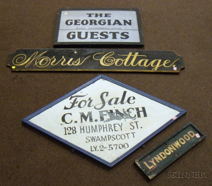 Four Painted Wood and Tin Signs