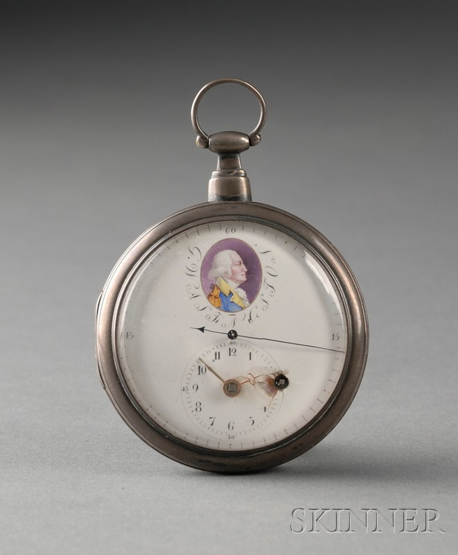 Silver Pocket Watch with George Washington Portrait Miniature