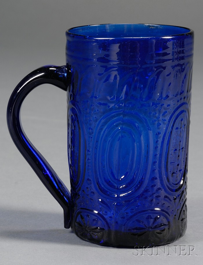 Cobalt Blown Molded Glass Mug