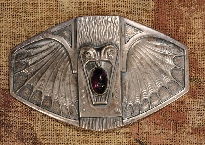 Art Nouveau Bat-form Belt Buckle