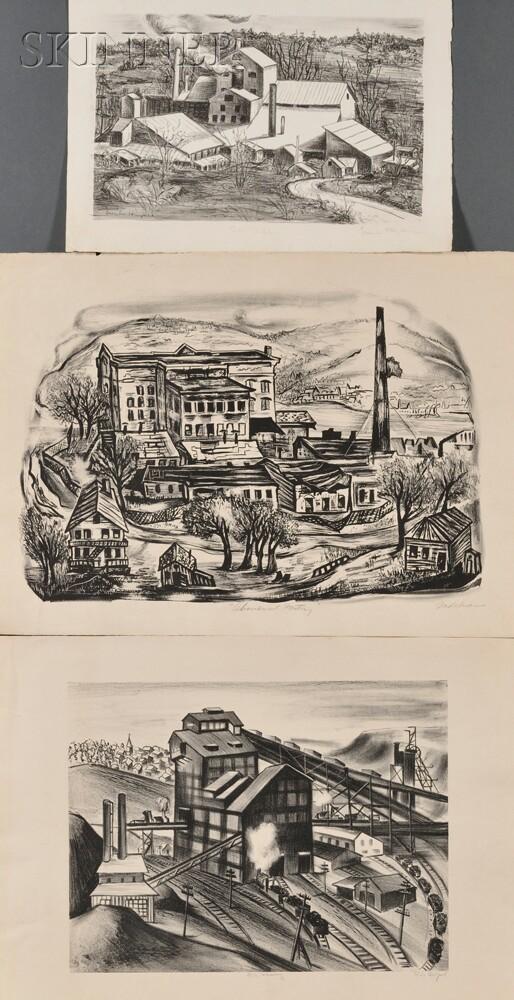 Three WPA Industrial Views:      Lillian Adelman (American, 1899-1985), Abandoned Factory