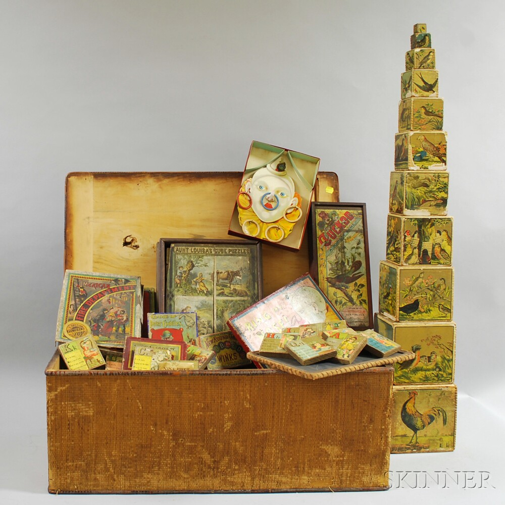 Collection of Victorian Lithograph Games and Toy Blocks