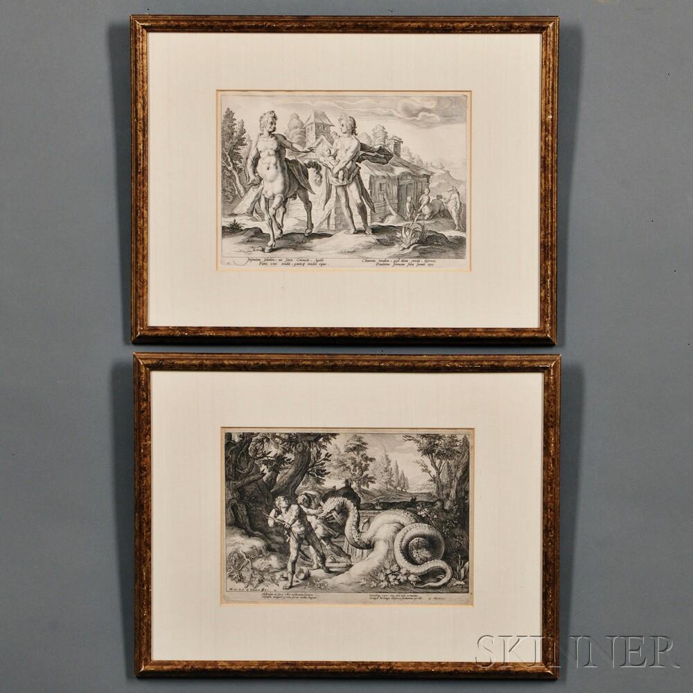 Robert Willems de Baudous (Flemish, 1574-1656), Two Prints After Hendrik Goltzius (Dutch, 1558-1617): Apollo Giving Esclepius to Cheiro