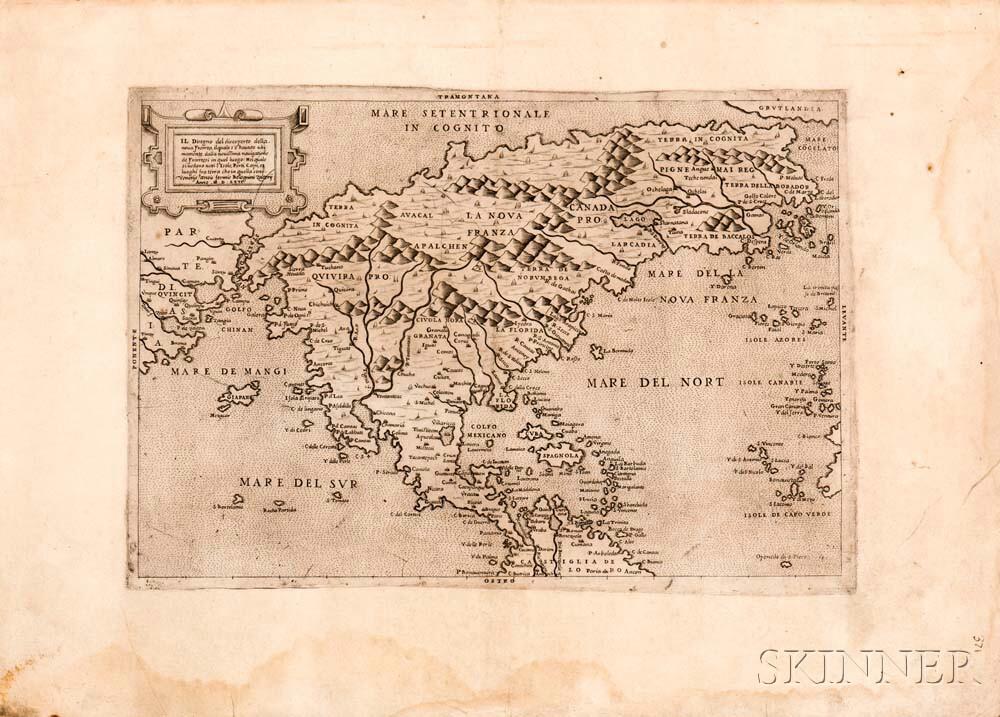 North America. Paolo Forlani (fl. circa 1560-1571) Il Disegno del discoperto della nova Franza.