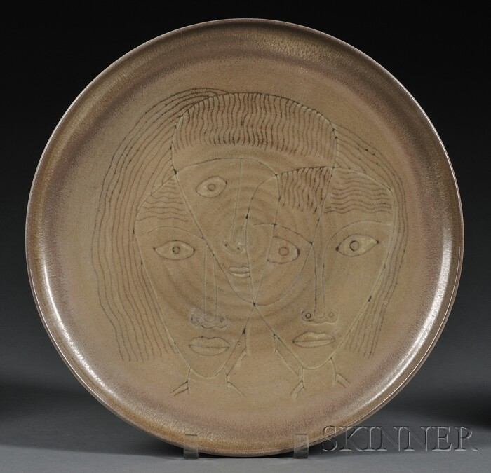 Edwin and Mary Scheier Pottery Charger