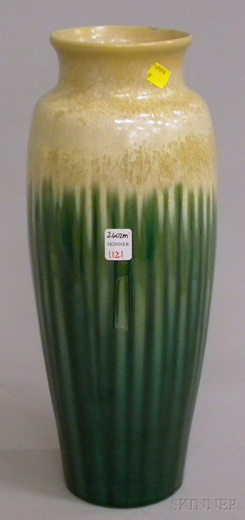 Tall Japanese Crystalline and Green Glazed Art Pottery Vase