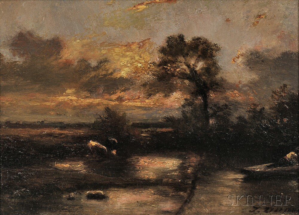 Jules Dupré (French, 1811-1889)      Landscape and Cattle