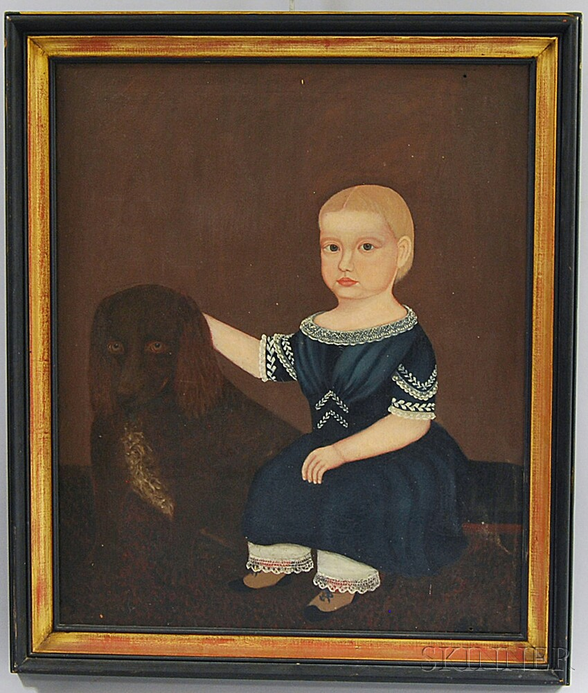 American School, 19th Century       Girl in a Blue Dress with a Dog.