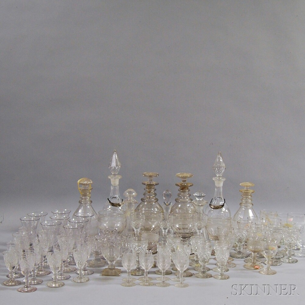 Approximately Eighty Colorless Glass Tableware Items