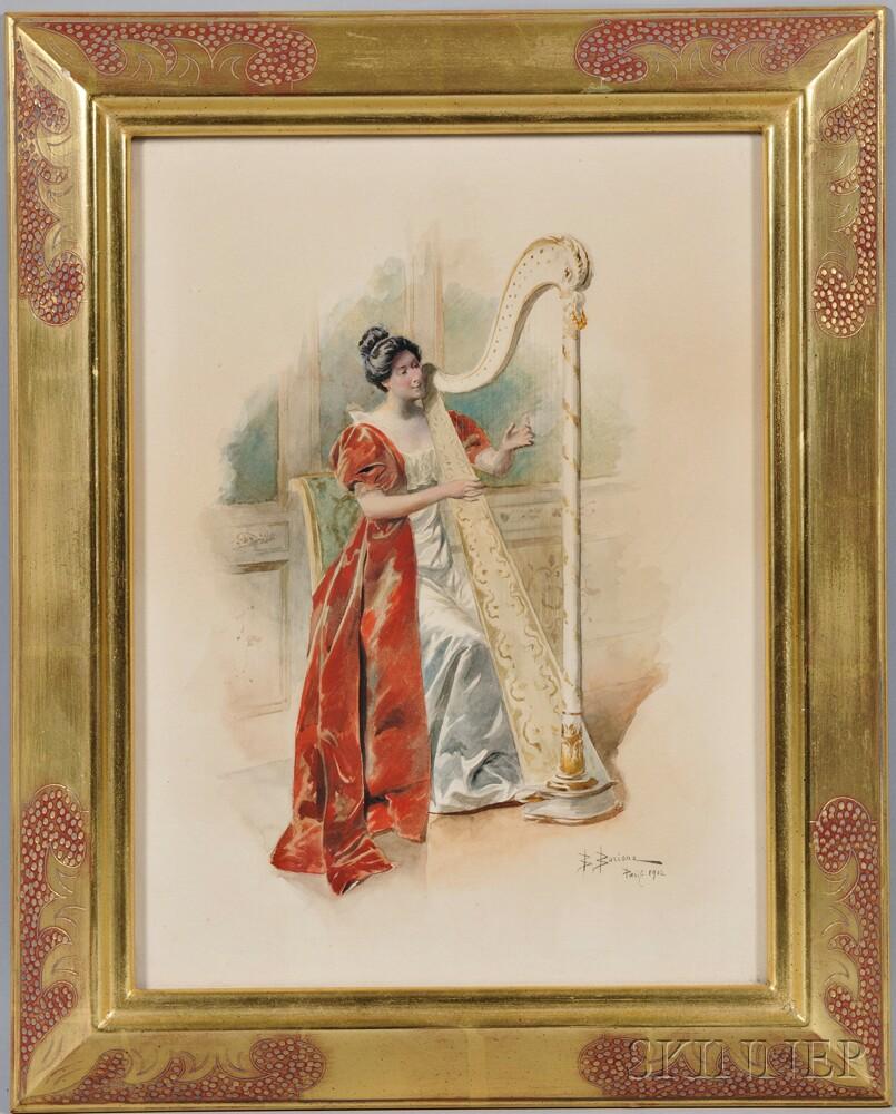 Bernard Louis Borione (French, b. 1865)    Woman Playing a Harp