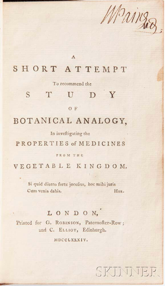 A Short Attempt to Recommend the Study of Botanical Analogy, in Investigating the Properties of Medicines from the Vegetable Kingdom.
