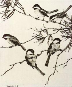 Hans Kleiber (American, 1887-1967)  Lot of Two Bird Prints:   Chickadees II