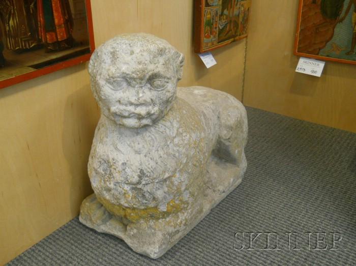Pair of Stone Lion-form Garden Statuary Figures