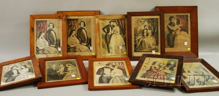 Collection of Framed N. Currier Hand-colored Lithograph Romance Prints