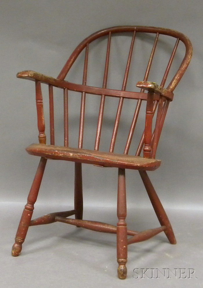Red-painted Windsor Sack-back Armchair.