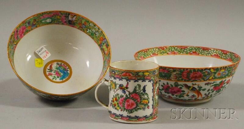 Chinese Export Rose Medallion Porcelain Mug and Two Bowls