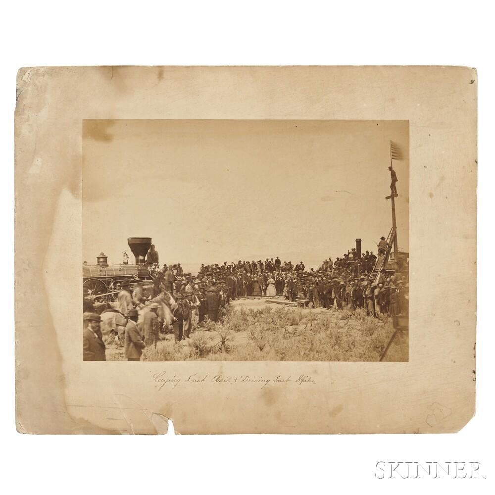 Russell, Andrew J. (1829-1902) Albumen Photograph, Golden Spike Ceremony, Promontory Point, Utah, 1869.