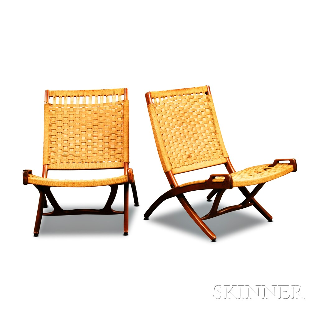 Pair Of Wegner Style Teak Folding Rope Chairs