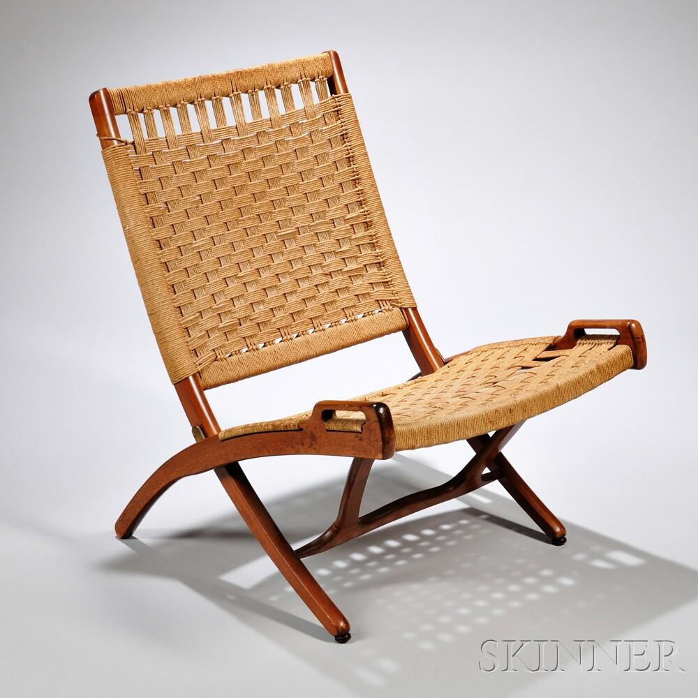 Pair of Wegner style Teak Folding Rope Chairs