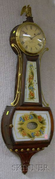 """Rosewood-grained Patent Timepiece or """"Banjo"""" Clock"""