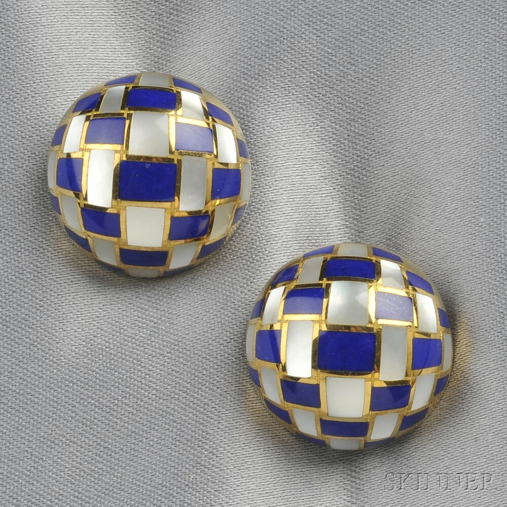 18kt Gold, Lapis, and Mother-of-pearl Earclips, Tiffany & Co.