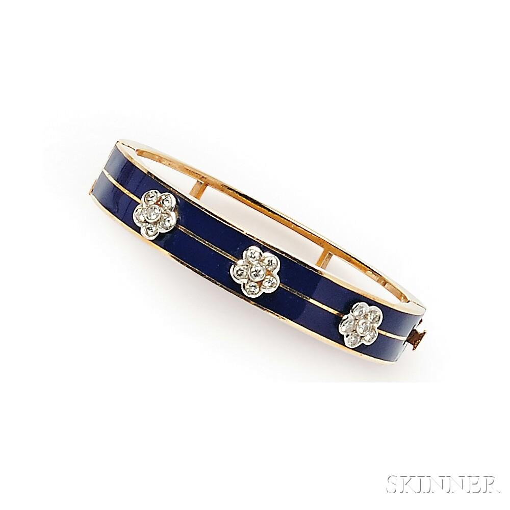 14kt Gold, Enamel, and Diamond Bracelet