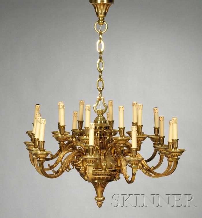 Large Twenty-light Louis XVI-style Bronze Chandelier