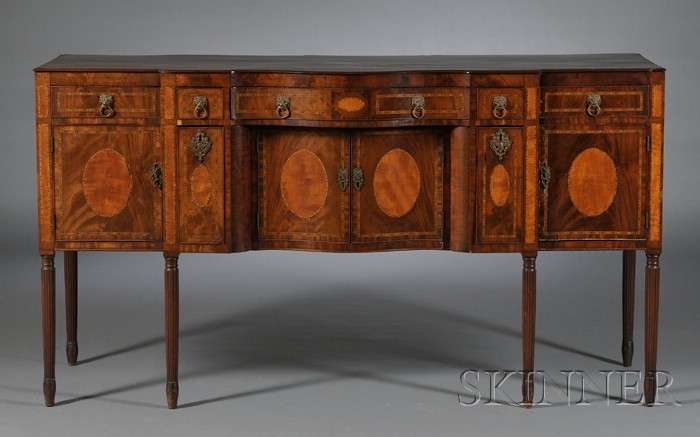 Federal Carved and Inlaid Mahogany Sideboard