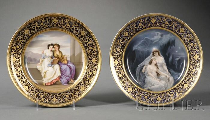 Two Austrian Porcelain Cabinet Plates