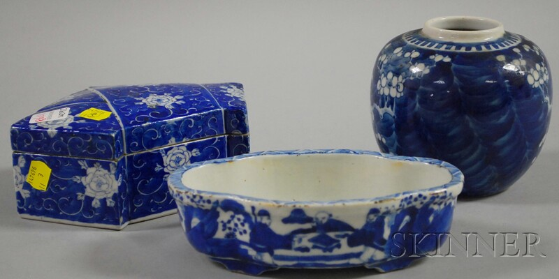 Three Chinese Blue and White Decorated Porcelain Items