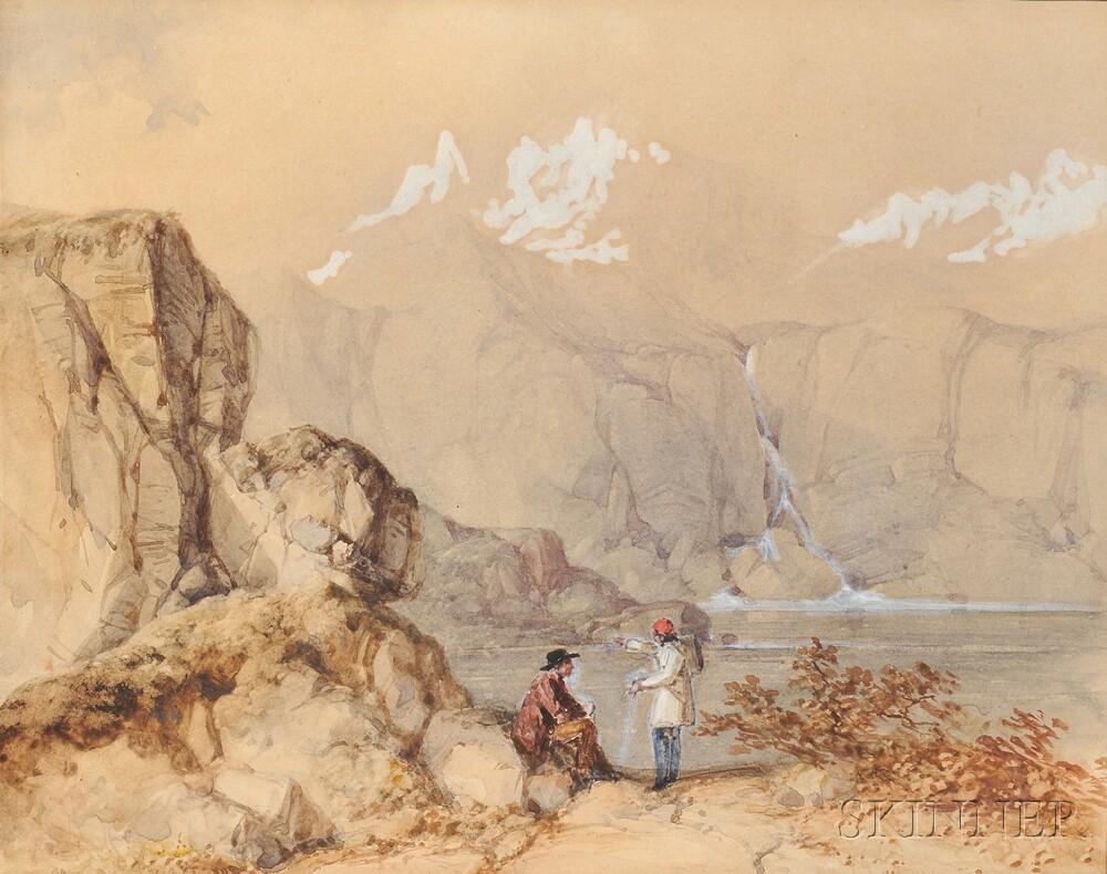 William James Müller (British, 1812-1845)    Mountain Scene with Figures