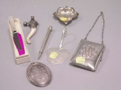 Sterling Silver Jensen Spread Knife, Cellini Pen, Ladys Case, Leaf-form Dish, a Christmas Ornament and a Silver Mounted Abalone Rattle