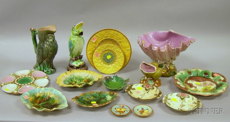 Fourteen Pieces of Majolica Tableware
