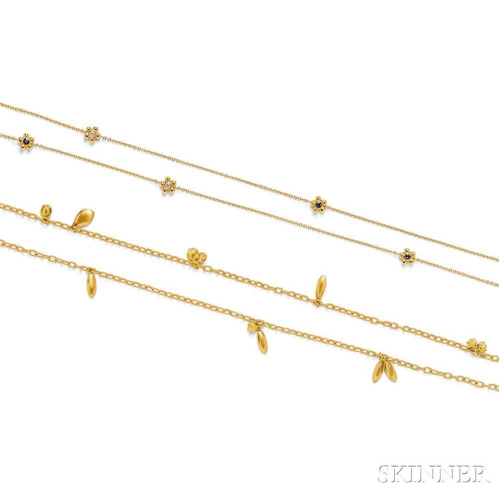 Two 18kt Gold Necklaces, Janet Mavec