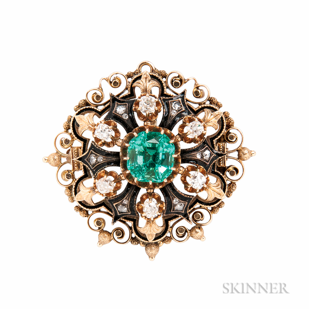 Antique Gold, Emerald, and Diamond Brooch