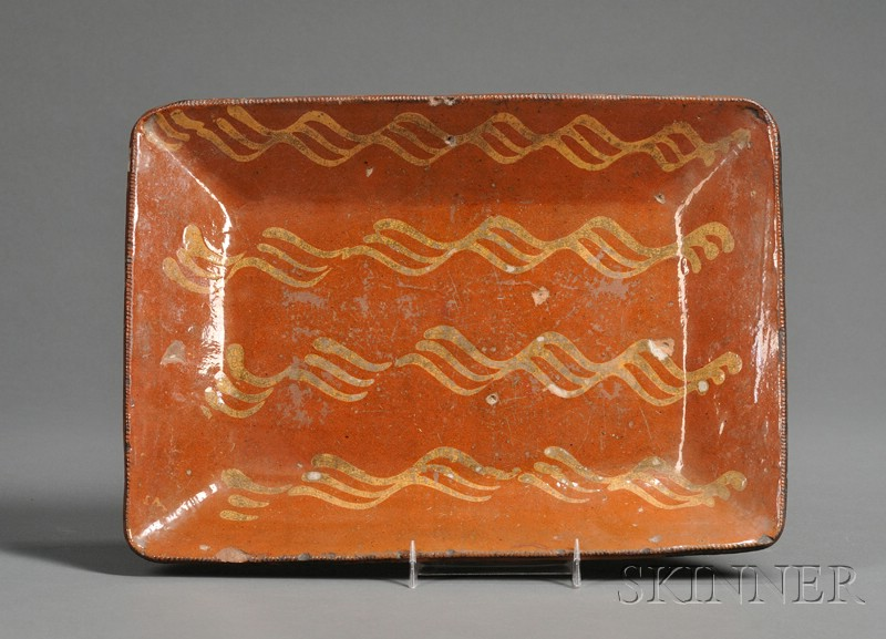 Slip-decorated Redware Pottery Loaf Dish