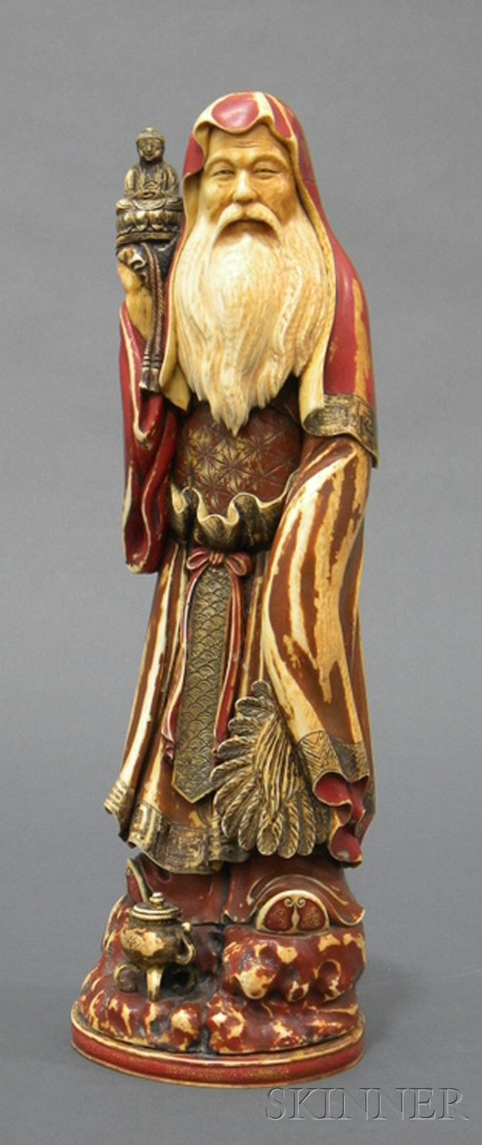 Polychrome Painted Ivory Carving