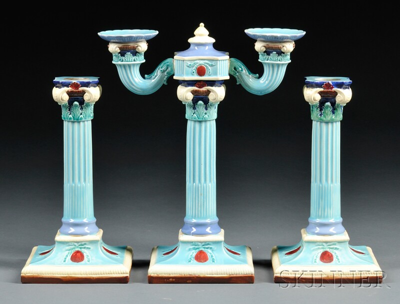 Three-piece Royal Worcester Majolica Candle Set